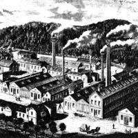 Hirtenberger Patronenfabrik um 1895. Zeichnung von Fabrikhallen mit Schornsteinen