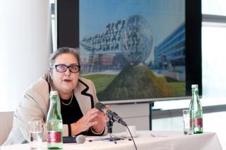 Eva Blimlinger thematisierte die Taras Borodajkewycz-Affäre auf der Pressekonferenz zum Mahnmal. Foto: Christopher Glanzl
