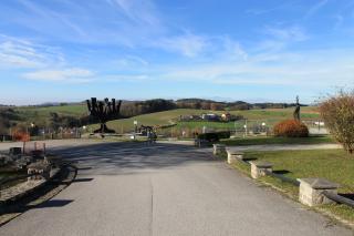 Überblick über den Denkmalhain aus der Richtung des Schutzhaftlagers mit Blick auf den Steinbruch. Foto: Nina Aichberger