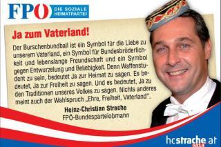 """Inserat """"Ja zum Vaterland"""" der FPÖ zum Burschenbundball. Quelle: http://www.burschenbundball.at/inserate.pdf"""