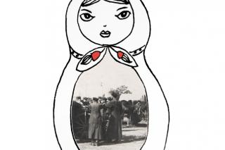 Zeichnung einer Matrjoschka. In ihrem Bauch ist ein schwarzweiß-Foto zu sehen