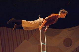 Eine Leiterakrobatin