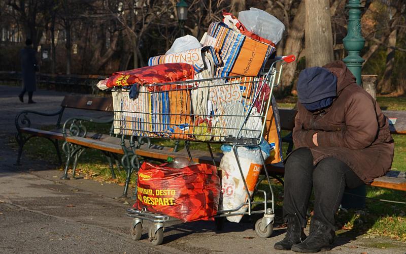 Obdachloser im Wiener Stadtpark. Foto: Dieter Diskovic