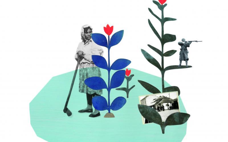 Collage: Schwarzweißbilder von jüdischen Kommunistinnen und Zeichnungen von Blumen