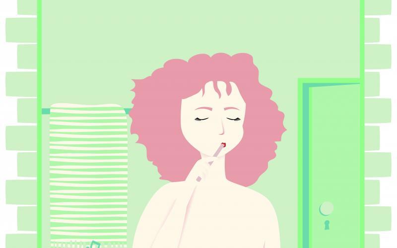 Illustration einer nackten Frau, die in einem sehr vollbepackten Badezimmer steht und sich die Zähne putzt