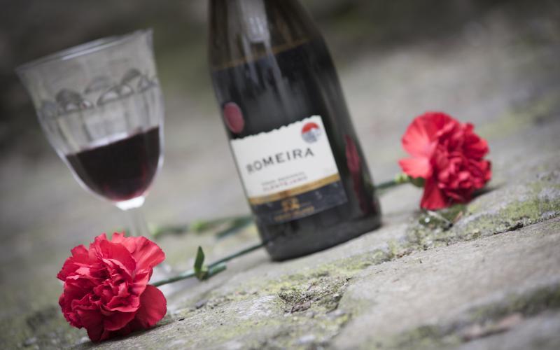 Foto von zwei roten Nelken und einer Flasche und einem Glas Portwein